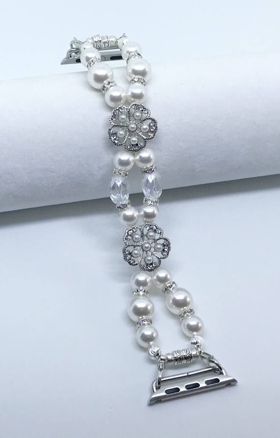 "Apple Watch Band*, Women Bead Bracelet Watch Band, iWatch Strap, Apple Watch 38mm, 42mm, White Swarovski Pearls Silver Metal 7 - 7 1/4"""
