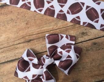 FOOTBALL print grosgrain hair bow