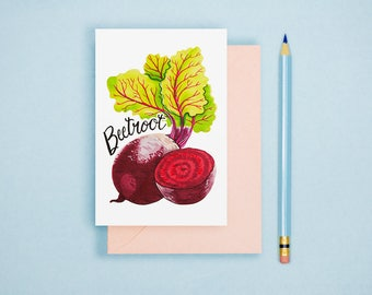 Beetroot Illustration Print -  Vegetable Print, Rustic Kitchen Decor, Food Illustration, Watercolor Print, Vegetable Postcard