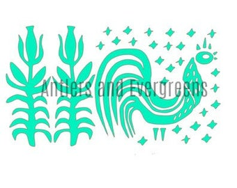 Pyrex Butterprint Rooster and Corn Stalks Decal