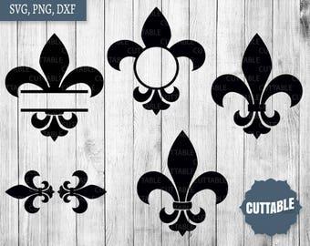 Fleur de Lis svg cut files, dxf fleur de lis cut file, fleur di lis monogram cut file for cricut and silhouette, cutting file commercial use