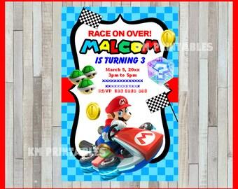 Mario Kart Invitation, Printable Mario Kart party invitation, Mario Kart Birthday invitation