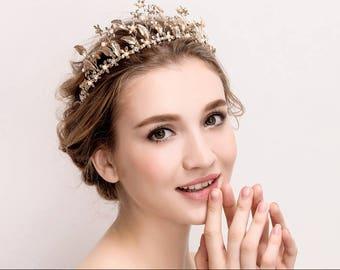 Bridal Crown Bridal Tiara Wedding Tiara,Gold Floral Tiara, Bridal Tiara, Princess Tiara, Gold Bridal Crown, Gold Leaf Crown, Gold Tiara,TY01