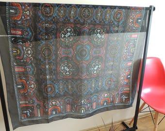 FREE SHIPPING - Vintage JANINE large dark ornament scarf, 120 cm x 114 cm