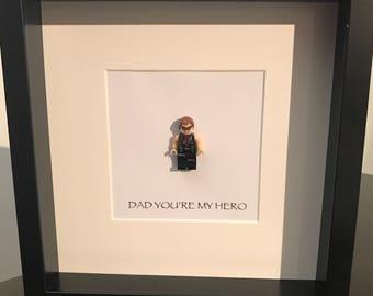 Hawkeye 'Dad you're my hero' lego frame