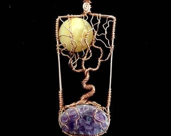 DISCOUNTED Amethyst Cluster and Opalized Wood Moon Tree of Life in Copper, Wire Wrapping, Gemstone