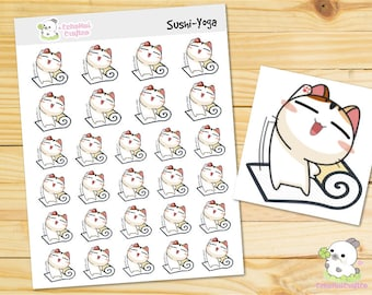 Yoga/ Workout Sushi the Cat Emotions Planner Stickers