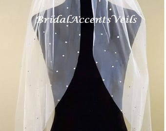 1T Single Layer Wedding Bridal Veil with Scattered Swarovski Crystals in White, Diamond White or Ivory - Fingertip, Cathedral Length