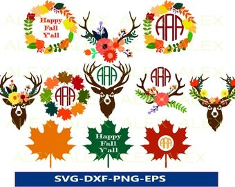 70% OFF, Autumn Svg, Fall svg, Happy Fall y'all, Deer Silhouette, Deer Antler Svg, Deer Svg, Dxf, Eps, Png files, Silhouette Cut Files