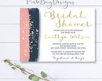 Navy And Blush Bridal Shower Invitation, Brush Stroke Bridal Shower Invite, Watercolor Shower Invite, Bridal Shower Invite, Watercolor