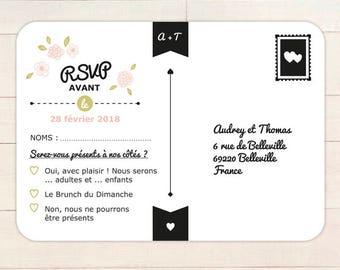 Carton réponse MARIAGE personnalisable // Carton réponse recto/verso carte postale à télécharger en pdf ou à imprimer