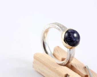 Silver ring with gold setting and Sodalite