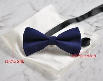 Men Navy Blue Cotton BOW TIE and 100% Silk White Pocket Square Hanky Handkerchief
