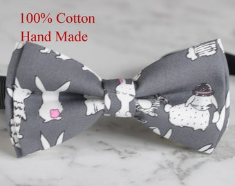 Men Women Grey Gray 100% Cotton Hand Made Bow Tie Rabbit Rabbits Pattern Easter Christmas Bowtie