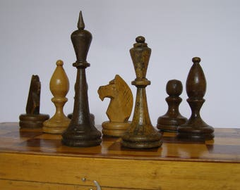 Soviet chess set, large chess set USSR, vintage tournament chess set, wooden chess, Soviet chess