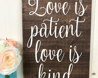 Wedding aisle signs // Wedding Signs// Love is patient love is kind wood signs// 1 Corinthians 13 aisle signs // Corinthians aisle signs