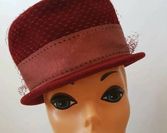 SUMMER SALE Eva Mae Modes Mid Century Red Peachbloom Velour Hat with Netting and Gross Grain Ribbon and Bow