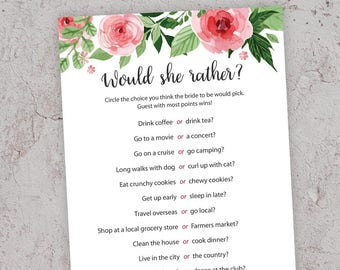 Would She Rather, Bridal Shower Games, Printable Bridal Shower, Floral Bridal Shower, Bridal Shower Game, Bachelorette Party, Hens, J003