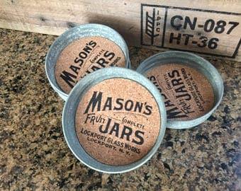 Mason Jar Coasters Set of Four-Fun Coasters-Mason Jar Coasters-Mason Jar Lid Coasters-Drink Coasters-Rustic Coasters-Farmhouse Decor-Gift