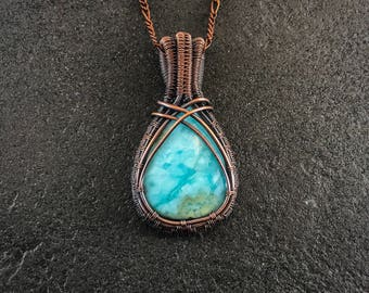 Wire wrapped jewelry for men etsy wire wrapped woven copper larimar necklace pendant jewelry for men publicscrutiny Image collections