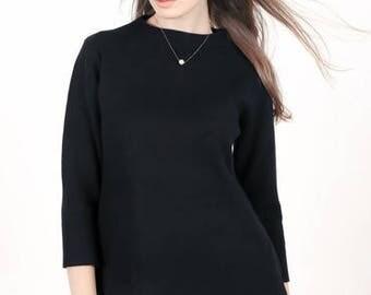 Black Jacquard Textured Sweatshirt