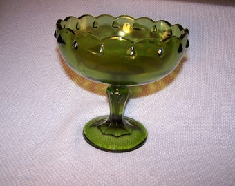 Vintage Indiana Glass Green Pedestal Teardrop Fruit Compote Bowl - Retro 1960's