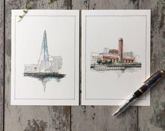 London Card, London Postcard, The Shard, Tate Modern, Artist Trading Cards, Art Card, Illustrated Card, Sketch Card, Blank Greeting Card UK