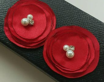 2 Satin poppies in Red, Tablecloth embellishment, Napkins embellishment, Hair clip, Hair pins, Headband