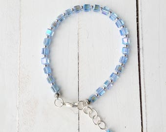 Blue Czech Glass Beaded Bracelet, Minimal, Handmade, Seattle Inspired