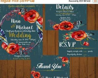 ON SALE Rustic Teal Rose Wedding Invitation, Rustic Wedding Invite, Printable Wedding Invitations Suite, Floral Wedding Set, Rustic Wedding