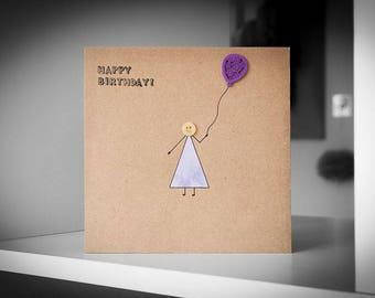 Happy Birthday With Purple Balloon Greeting Card