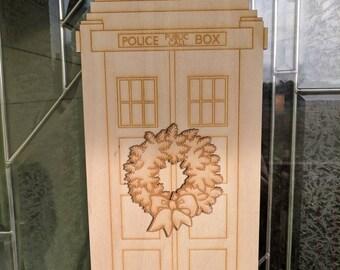 Doctor Who, Tardis, Christmas Tardis, Christmas Wreath, Door Hanger, Geek Decor, Nerd Gift, Christmas Decor