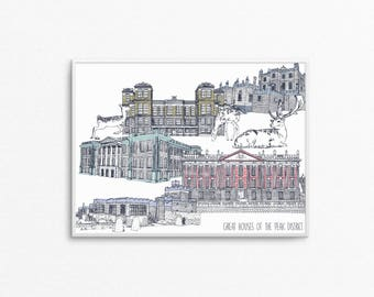 A4 Great Houses of the Peak District Print