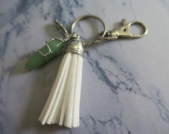 Aventurine Natural Crystal + Feather White Tassel Keychain