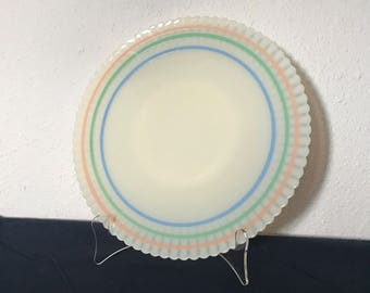 MacBeth Evans Petalware Cremax Pastel Bands Serving Platter
