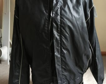 Men's black racing style windbreaker