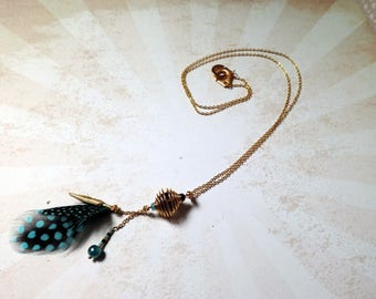 Gold necklace, turquoise feather and Pearl - #2 Gypsy fairy