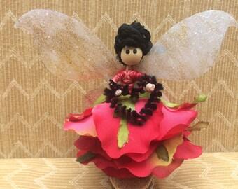 Red Rose Fairy Doll, Flower Petal Fairy, Fairy Garden, Flower Fairy, Miniature Fairy, Fairy Collectible, Fairy Doll