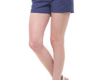 Navy blue linen shorts.Handmade shorts Summer clothing