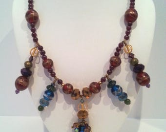 Garnet and crystal necklace