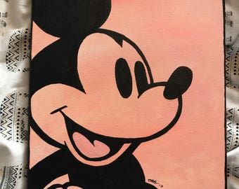 Mickey Mouse pink and black acrylic painting on canvas