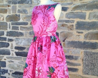 Pink floral vintage dress, strapless and backless (sizes 34-42)