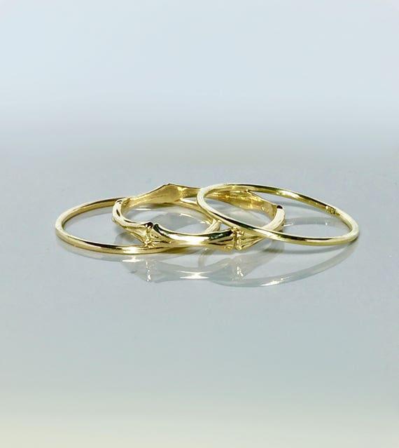 SALE 3 Ring Set 14k 10k Gold Bamboo Ring Gold Thumb Ring