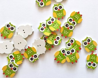 5 green owl-shaped buttons