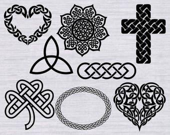 Celtic SVG bundle, Celtic knot SVG, Celtic Cross svg, Celtic triad svg, cut files for silhouette or cricut, dxf, clipart, vector, cricut cut