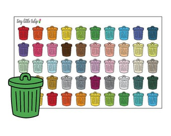Planner Stickers Trash Cans
