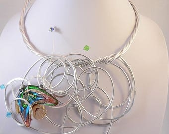 Silver wire statement necklace.Chunky and Unique.Wearable art.
