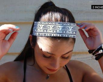 Blue Elephant Headband, Elephant Headband, Yoga Headband, Fitness Headband, White Headband, Snow Headband, Girls Headband, Adult Headband