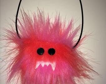 Handmade pink monster choker necklace