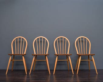 Set of 4 Vintage Retro Mid Century Ercol Hoopback Dining Chairs Model 400